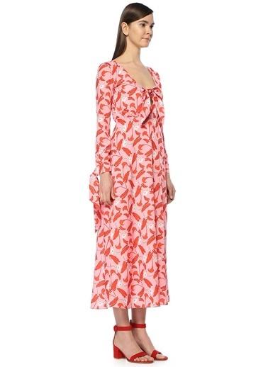 Borgo De Nor Sonia Çiçekli Midi Krep Elbise Kırmızı